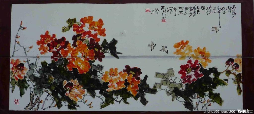 应洛阳市政府的邀请,用丙烯颜料画的部分墙壁国画牡丹,请道友们指正.