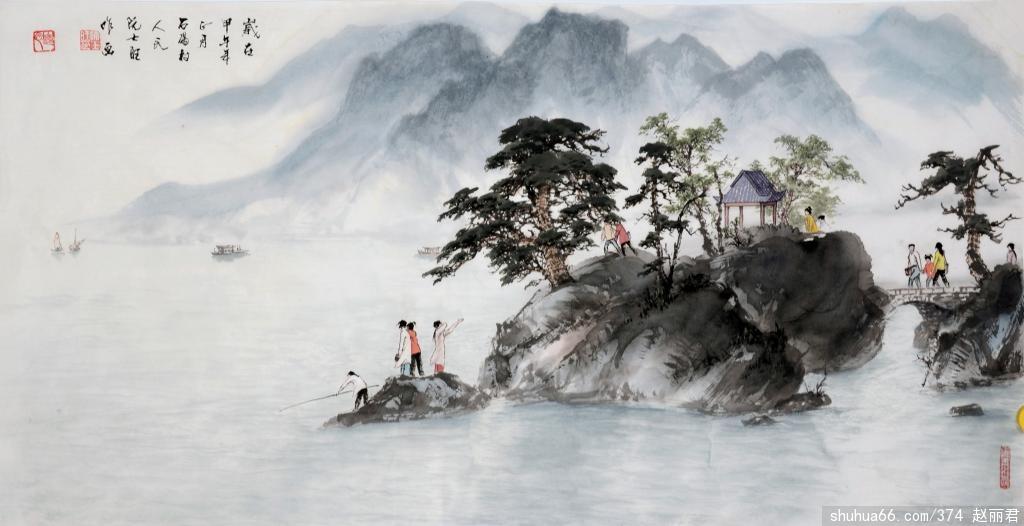 独幅画-《游湖岛》 - 阮士旺国画作品 - 相册