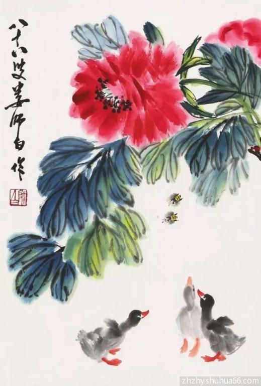 水彩调色表-国画颜料配色表   草绿   花青   藤黄调配而成   画工笔花卉的叶子最常用