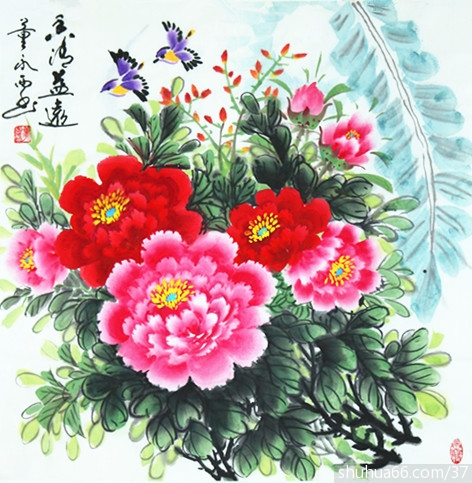 董永西2018年国画牡丹新作品5